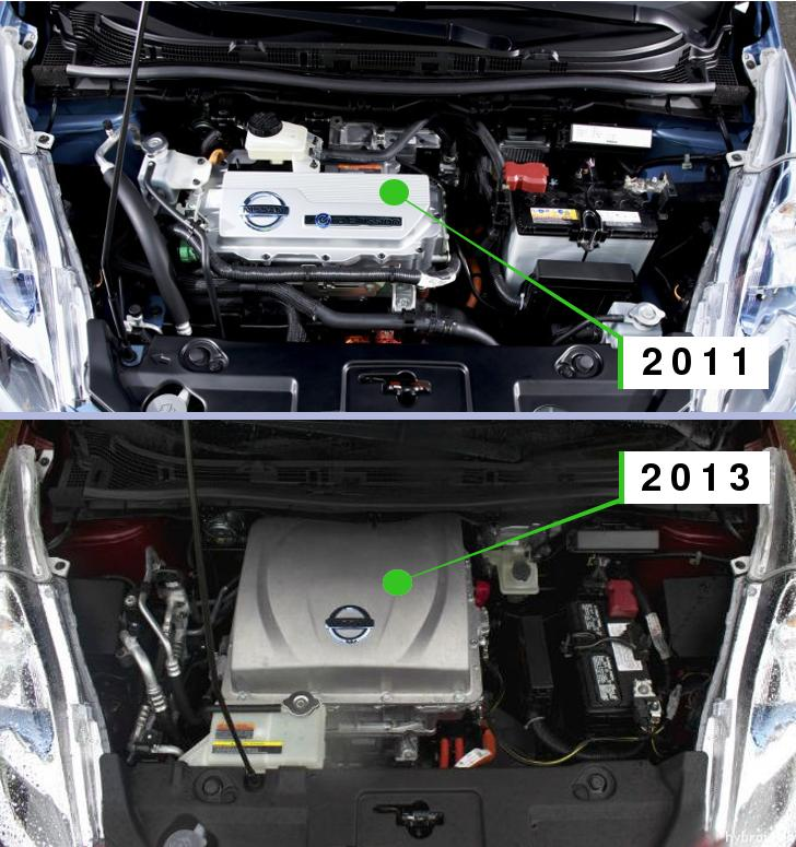 Under the hood Nissan Leaf 2011 vs 2013