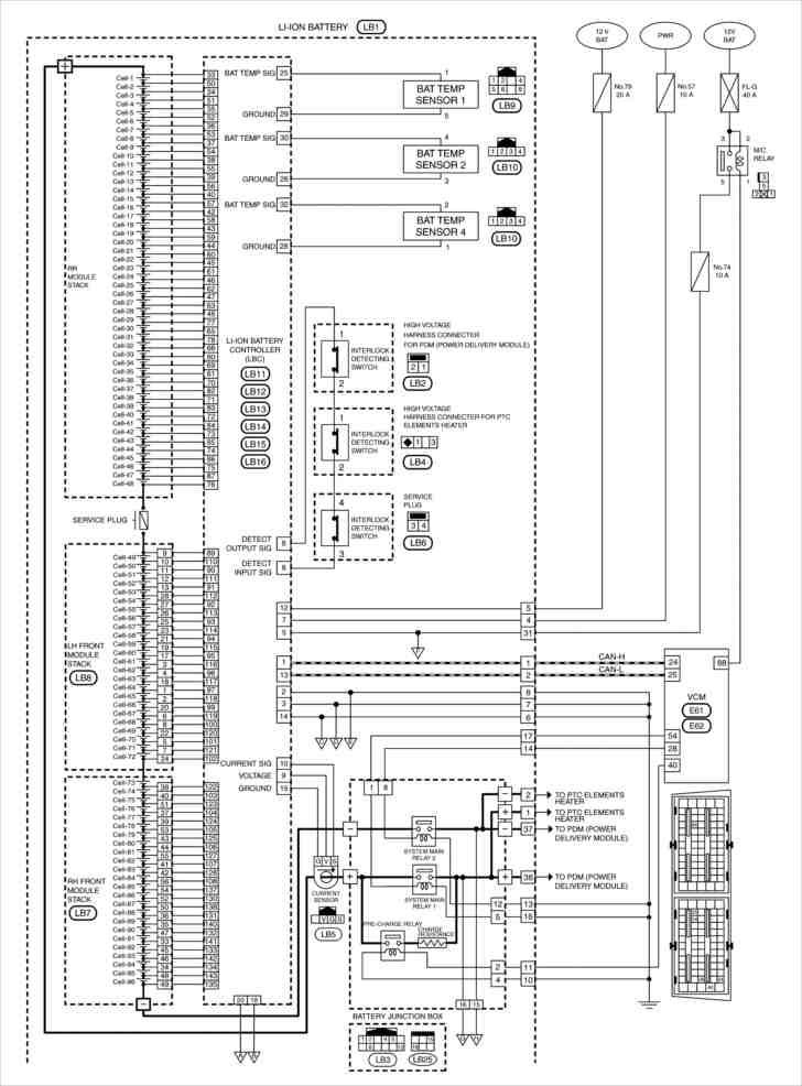Схема соединений аккумуляторной батареи Ниссан Лиф